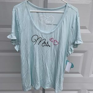 Betsey Johnson bride top with mrs on front